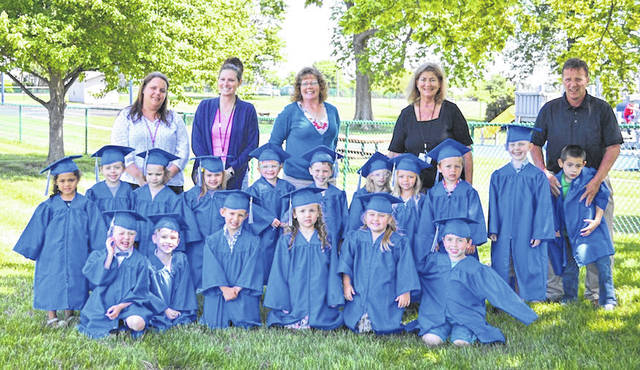 Fairhaven Preschool graduates and staff posed prior to graduation on Wednesday, May 23 at the school, operated by Madison County Board of Developmental Disabilities. Graduates included front row from left: Jonathon Strebe, Miles Gildow, Lane Turvy, Lynen Samons, Olivia Rohner and Dylan Stewart; second row: Nakiyah Skaggs, Grant Garrett, Alyssa Sexton, Makenzie Lee, Carter Comer, Kiptyn Whiteside, Ellie Peters, Kyndall Wolverton, Grey Witt, Brooks Fisher and Adrian Dillard; third row: Fairhaven staff, Shannon Liff, Becky Rader, Marlene Toops, Nancy Morris and Mike Mast.