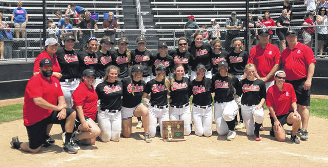 Members of the Jonathan Alder softball team pose for a photo following the Lady Pioneers regional championship victory over Clinton-Massie Saturday. Alder will meet Beloit West Branch in a D-II state semifinal Thursday in Akron.
