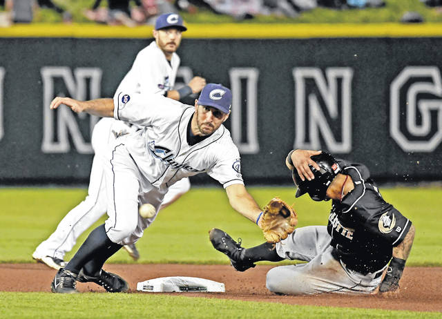Columbus Clippers second baseman Adam Rosales, left, attempts to haul in a throw while a Charlotte Knights player slides into second base during a game earlier this week at Huntington Park.