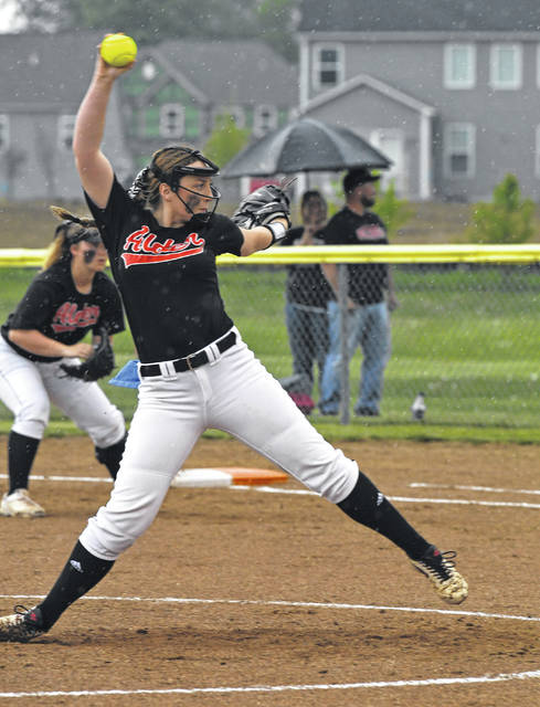 Jonathan Alder's Katelyn Perkins fires a pitch toward the plate during the first inning of the Lady Pioneers D-II district semifinal against Buckeye Valley Tuesday.