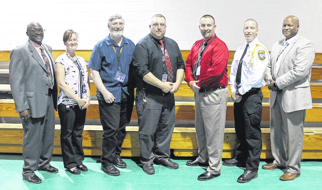 London Correctional Institution held their annual awards banquet on Wednesday. Officer of the Year, Supervisor of the Year and Employee of the Year were all handed out as well as the Kenny Wilder Award and recognition for perfect attendance. LoCI employees are from left: Stanley Taylor, Kimberly Mockabee, Steven Cahill, Travis Hall, Jay D. Hurst, Charles King and Warden Norman Robinson.