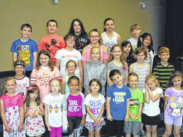 Norwood Elementary School in West Jefferson April Roughriders of the Month are front row from left: Kindergarten, Ryanna Stoner, Ava Hiss, Ellie Moore, Letticia Santiago and Addison Duemmel, first graders, Blake Orris, Jimmy Warncke, Mayah Clark and Zoey Poe; second row: second graders, Kaylee Bierbaugh, Jauslynn Watkins and Addison Edwards, third graders, Ella Hostetler, Olive Wilson, Kacy Kuebler and Xavier Counts; third row: fourth graders, Cydney Blanchard, Hayden Lamoreaux, Megan Elfrink and Kinsley Many; fourth row: fifth graders, Samuel Messer, Brady Ryan, Skylar Ferguson, Madison Shawver and Malaki Elfrink. Students exhibiting the virtue of Strive For Excellence received a certificate, two spirit sticks and enjoyed lunch with their principal Sue Barte.