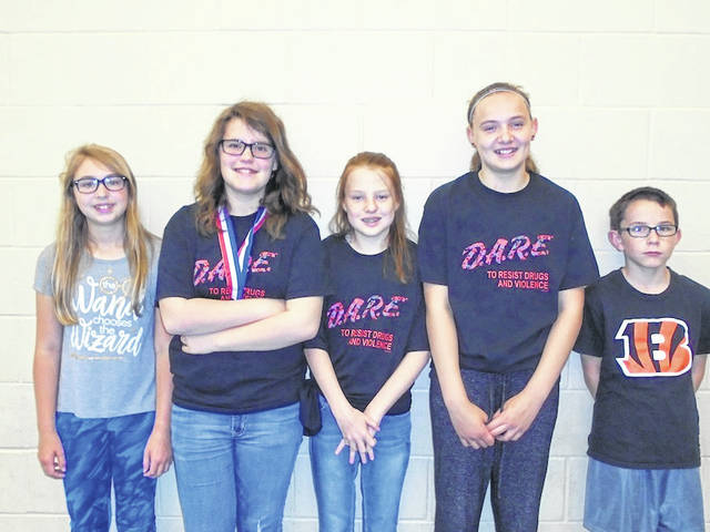 Thursday, May 17 was D.A.R.E. graduation at Norwood Elementary School in West Jefferson. Top Guns were announced and they shared their commitment to be drug free. From left are fifth grade Top Guns: Grace Taylor, Amara Smith, Kennedy Taylor, Aleithia Wilson and Joey Valvo.