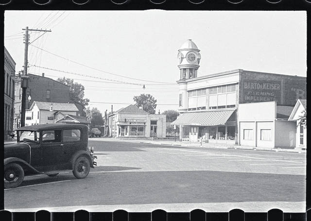 A photo of Plain City looking toward Main Street from Gay Street in 1938. The photo was done by photographer Ben Shahn who did a series on central Ohio in the 1930s as part of President Roosevelt's New Deal program. A portion of his collection is on display at the Plain City Historical Society throughout the summer.