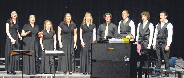 The students involved in the Ohio Heritage Conference Honor Choir were just one of many groups to sing in the West Jefferson Middle/High School Vocal Music Spring Concert, held Tuesday, May 15. Students above include from left: Rachel Brown, Loraine Stone, Nicole Evans, Celina Jeffers, Hope Schwind, Patrick Krischak, Reese Nawman, Andrew Weber, Michael Catapano. The groups are under the direction of Rachel Armas, with Jacob Boyer accompanying on piano.