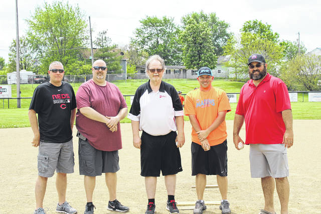 The London Area Baseball Council has helped shape America's Pastime for local youth for 50 years. Some of those who have contributed over the years in leadership roles were on hand recently to throw out the first pitch. They included from left, Gary Long, Jeff Hunter, Dave Mabe, Justin Collins, and current chairman Landon McKenzie.