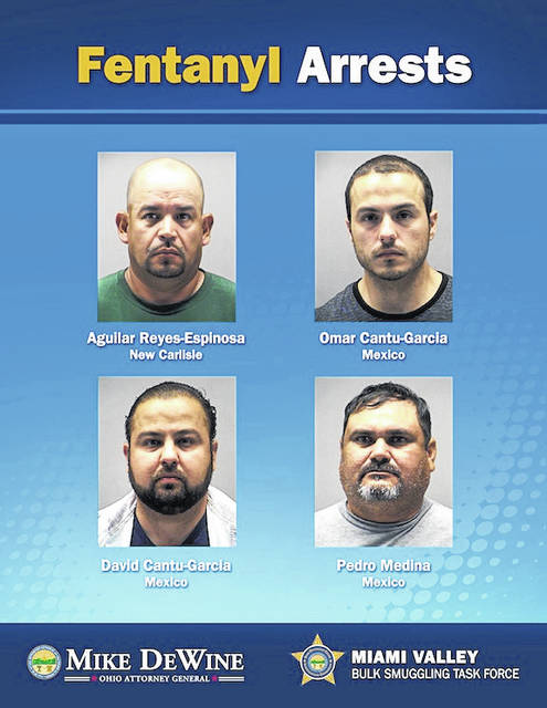 The following four suspects were arrested on drug charges on Tuesday, June 12: Aguilar Reyes-Espinosa of New Carlisle, Ohio, Omar Cantu-Garcia of Nuevo Leon, Mexico, David Cantu-Garcia of Nuevo Leon, Mexico and Pedro Medina of Nuevo Leon, Mexico.