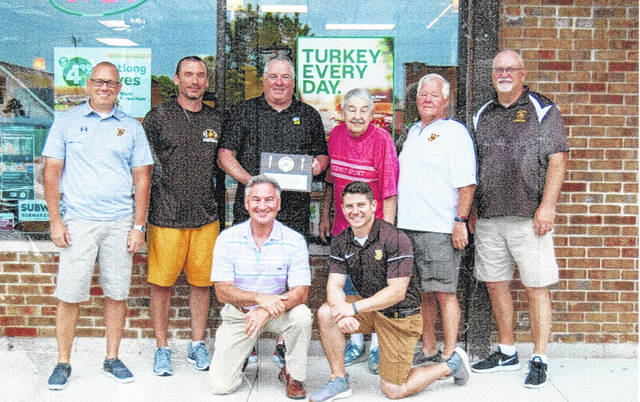 On June 5, the West Jefferson Athletic Boosters and Administrators honored West Jefferson Subway store owner Jeff Smoot for his continued support of West Jefferson Athletics. They recognized him for his support, dedication, contributions and a commitment to the West Jefferson Local School district. Smoot opened the subway store located at 97 E. Main St. in 1999. He with his family of four, along with their team of employees at the location continue to serve the community. Front row from left are: William Mullett, West Jeff Superintendent and Mitch Daulton, Athletic Director; second row: Roger Jester, Booster treasurer, Shawn Buescher, Dean of students and head football coach, Jeff Smoot, owner of West Jeff Subway, John Brenneman, Booster board member, Jerry Doran, Booster vice president and Dana Farbacher, Booster secretary.